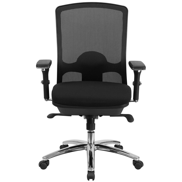 24/7 Intensive Use Big & Tall 350 lb. Rated Black Mesh Multifunction Swivel Chair with Synchro-Tilt