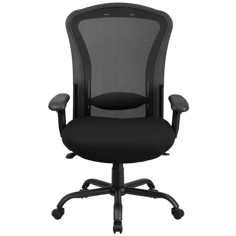 24/7 Intensive Use Big & Tall 400 lb. Rated Black Mesh Multifunction Swivel Chair with Synchro-Tilt