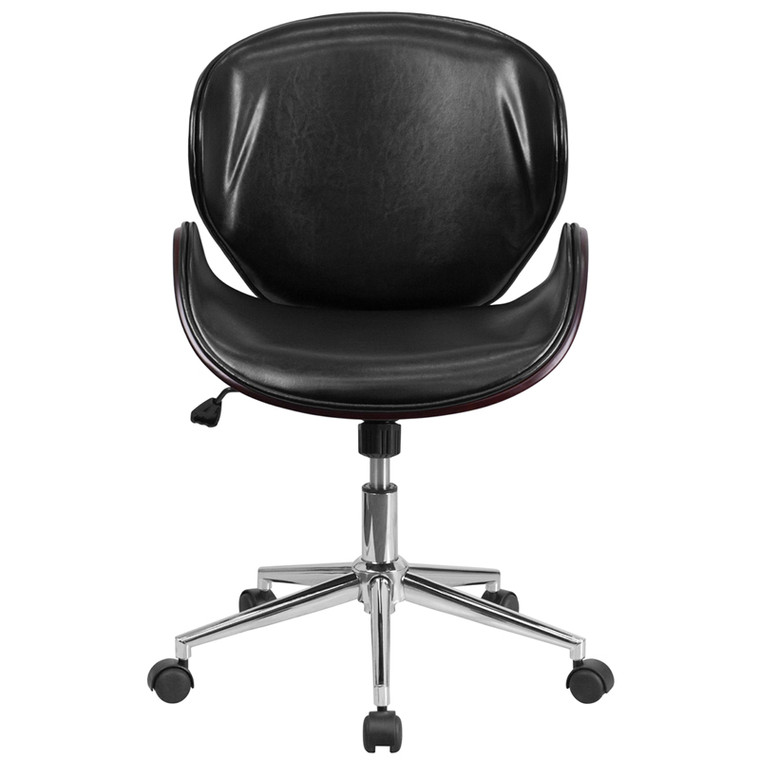 Mid-Back Mahogany Wood Swivel Conference Chair in Black Leather