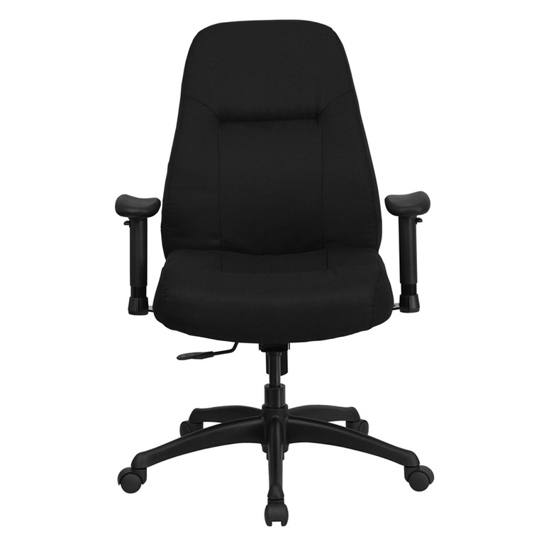 400 lb. Rated High Back Big & Tall Black Fabric Executive Swivel Chair with Adjustable Arms