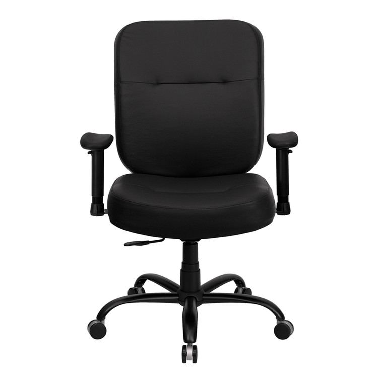Series Big & Tall 400 lb. Rated Black Leather Executive Swivel Chair with Adjustable Arms [DXWLi735SYGiBKiLEAiA]