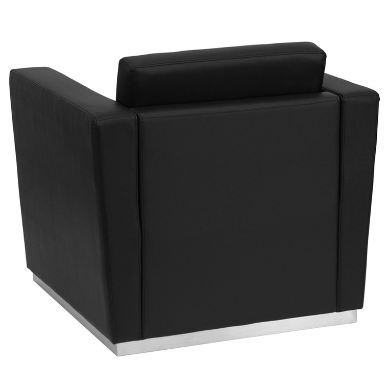 Contemporary Black Leather Chair with Stainless Steel Base