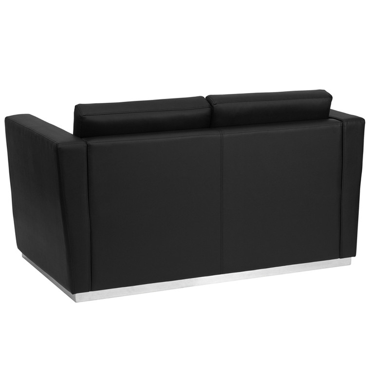 Contemporary Black Leather Loveseat with Stainless Steel Base
