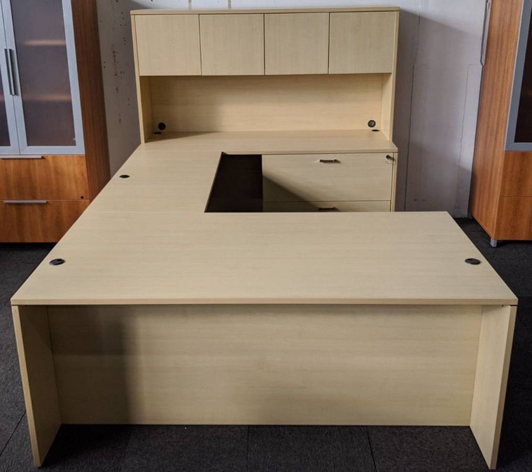 AM-Series U-Shape Executive Desk with Lateral File and Hutch