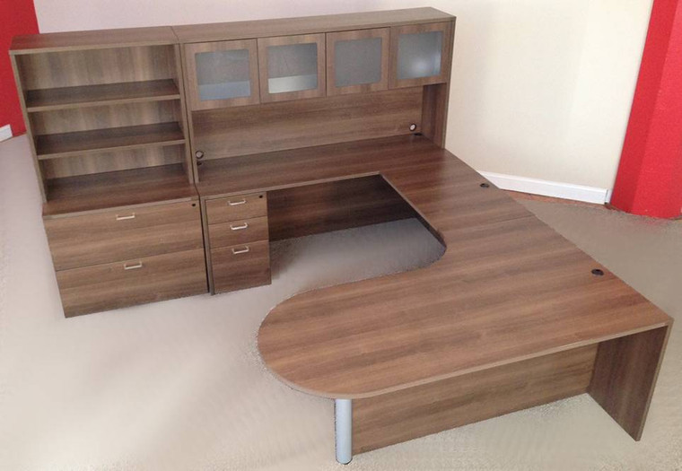 AM-Series Bullet Front U-Shape Executive Desk with Hutch and Lateral File/Bookcase Storage - View 4