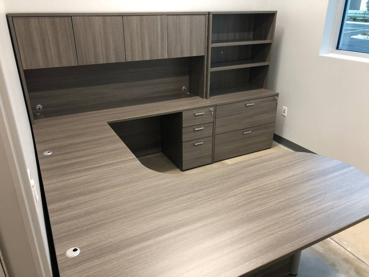 AM-Series Bullet Front U-Shape Executive Desk with Hutch and Lateral File/Bookcase Storage - View 3