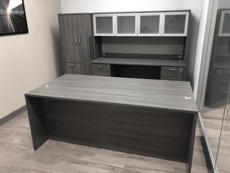 "AM-Series 71"" Executive Desk with Credenza and Glass Door Hutch, Wardrobe Cabinet (4 Pedestals)"
