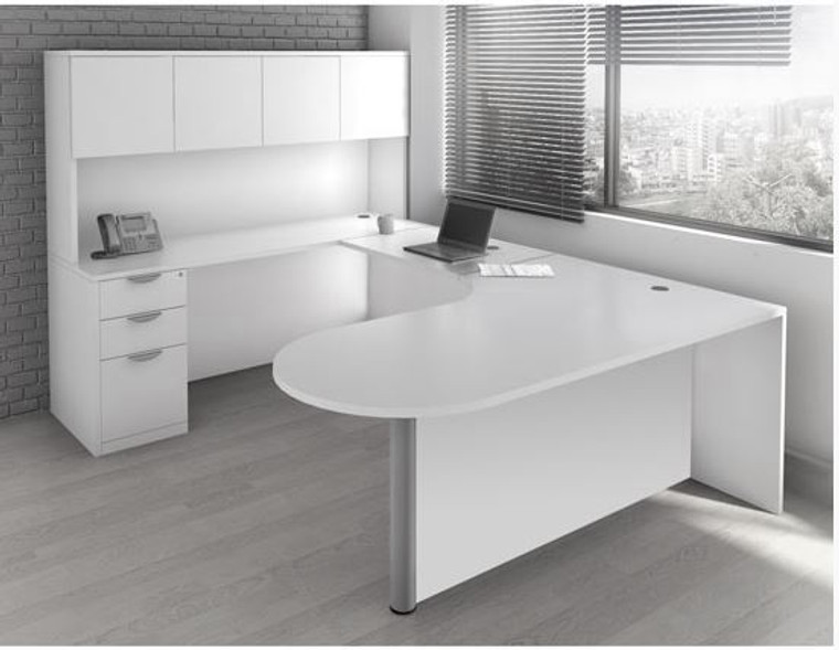 OSL-Series Bullet Executive U-Shape Desk with Hutch and 3-Drawer Pedestal