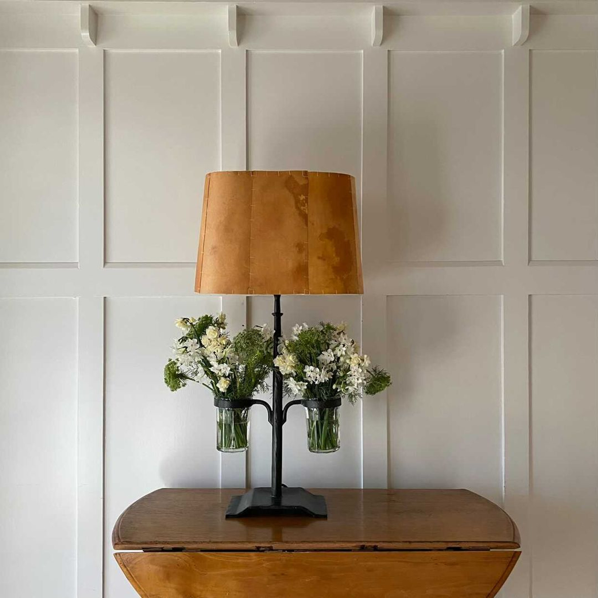 Jam jar table lamp, parchment, wrought iron, glass, vase, Andrew Gourlay