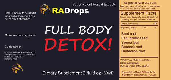 NEW! FULL BODY DETOX DROPS - LIVER, KIDNEY, SPEEN, COLON DETOX (2oz)