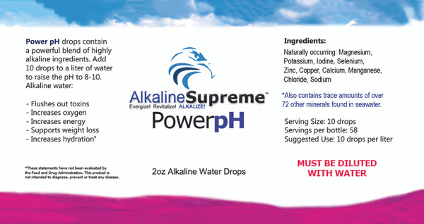 NEW! 2-PAK Power pH - Premium Alkaline Water Drops - 2OZ (HOME & AWAY)
