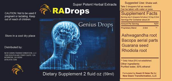NEW! GENIUS DROPS - Calm Steady Mental Focus & Analysis 2oz