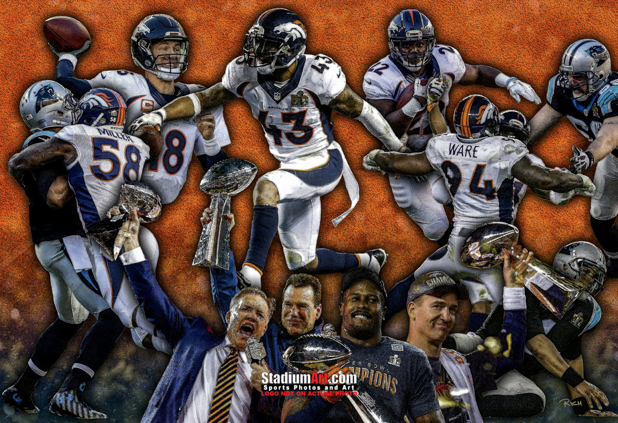 e19ce2d5 Denver Broncos Peyton Manning Super Bowl 50 Champions NFL Football Art  8x10-48x36