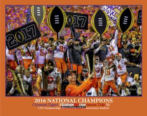 Clemson Tigers National Champions 2016 Art Print 04 8x10-48x36