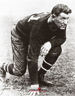 Jim Thorpe Football Stance 8x10 or 11x14 or 40x30 photo StadiumArt.com Sports Photos