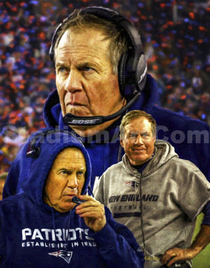 New England Patriots Bill Belichick Head Coach NFL Football Art