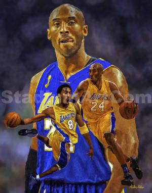 Kobe Bryant Los Angeles Lakers LA Art 3 NBA Basketball Art