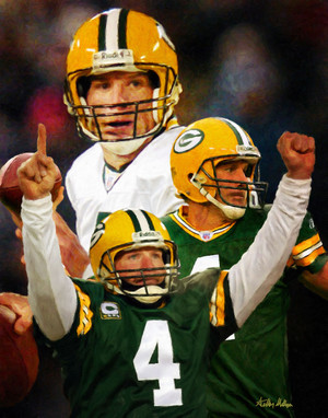 Green Bay Packers Brett Favre NFL Football Art Print 8x10 or 11x14 or 16x20 or 40x30 StadiumArt.com Sports Photos