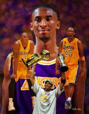 Kobe Bryant Los Angeles Lakers LA Art NBA Basketball Art 8x10-48x36 Art Print 2530