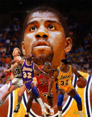 Earvin Magic Johnson Los Angeles Lakers LA Art NBA Basketball Art Print 2510
