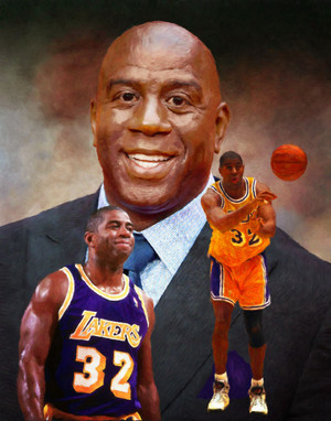 Earvin Magic Johnson Los Angeles Lakers LA Art NBA Basketball Art Print 2520