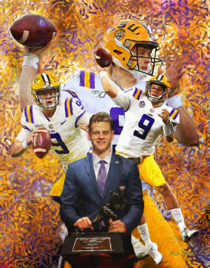 LSU Tigers Joe Burrow Heisman Trophy winner fine art print