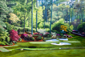 Augusta National Golf Club, Masters Tournament Hole 12 Golden Bell golf course oil painting 2550  Art Print main image