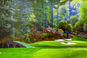Augusta National Golf Club, Masters Tournament Hole 12 Golden Bell golf course oil painting 2570 Art Print main image