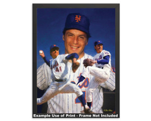 Tom Seaver New York Mets Tom Terrific NY Miracle Mets MLB Baseball Stadium Art Print 2510 framed example