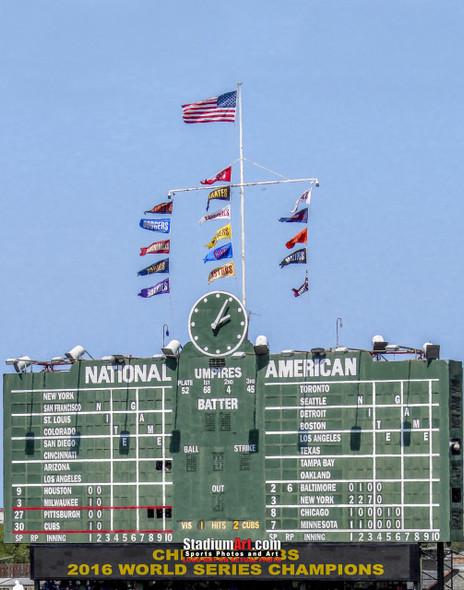 Chicago Cubs Wrigley Field 2016 World Series Champions Art Scoreboard MLB Baseball Print 02 8x10-48x36