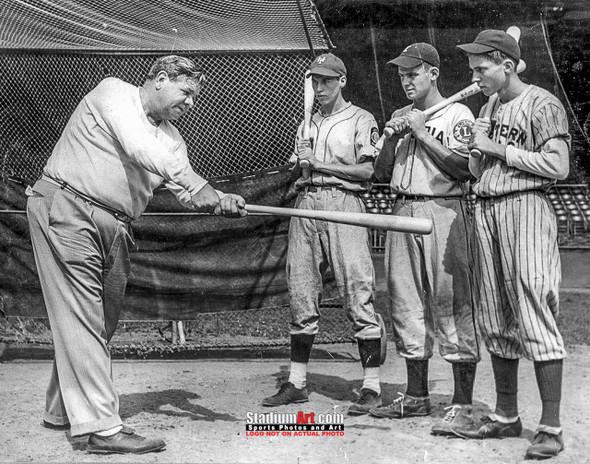New York Yankees Babe Ruth teaching hitting NY Baseball Photo Art Print 8x10 or 11x14 or 40x30 StadiumArt.com Sports Photos