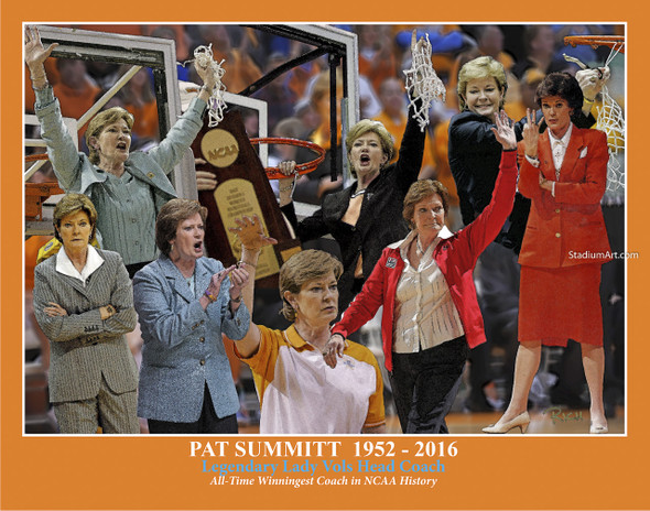 Tennessee Volunteers Women's Basketball Pat Summitt Lady Vols 03 8x10 or 11x14 or 40x30 photo StadiumArt.com Sports Photos