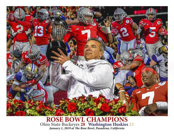 Ohio State Buckeyes Football Rose Bowl 2019 Champions Urban Meyer NCAA College Football 8x10-48x36 Art Print
