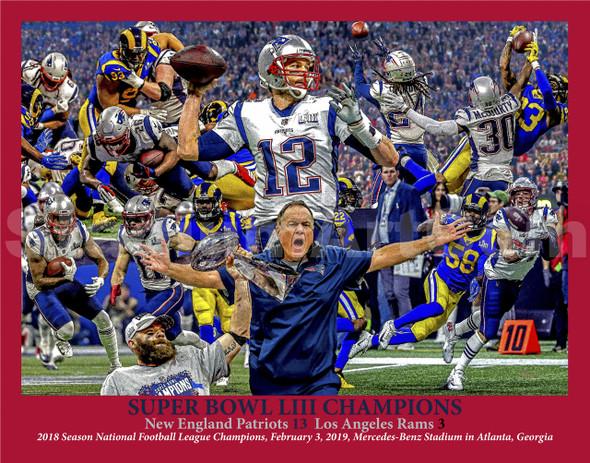 New England Patriots Super Bowl LIII 2019 Tom Brady 8x10-48x36 Art Print 51