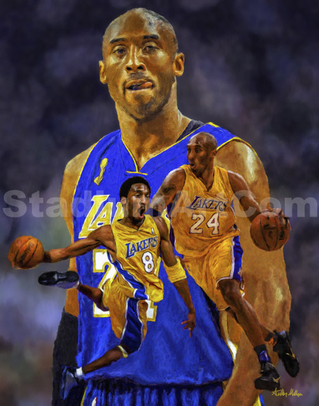 Kobe Bryant Los Angeles Lakers LA Art 3 NBA Basketball Art