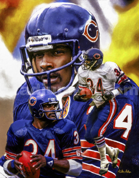 Walter Payton Chicago Bears Running Back NFL Football Art 8x10-48x36 Art Print 2510