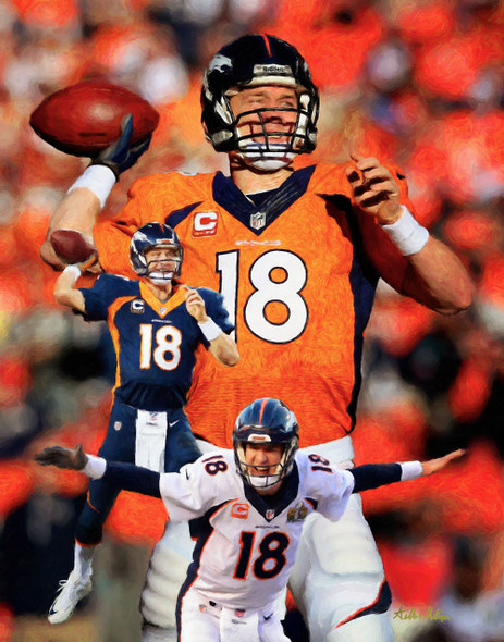 Denver Broncos Peyton Manning NFL Football Art Print 8x10 or 11x14 or 16x20 or 40x30 StadiumArt.com Sports Photos