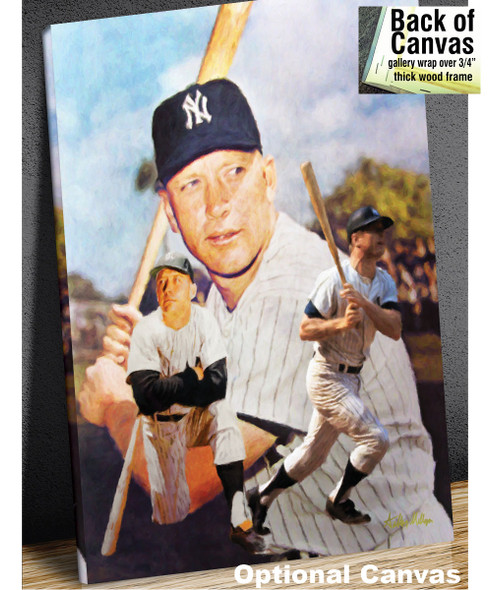 Mickey Mantle NY Yankees New York MLB Baseball Stadium Field Art Print 8x10 or 11x14 or 16x20 or 40x30 StadiumArt.com Sports Photos canvas example with inset of back of frame