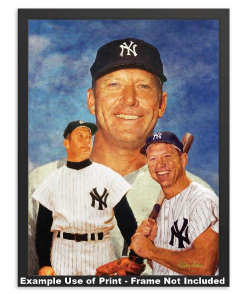 Mickey Mantle NY Yankees New York MLB Baseball Stadium Field Art Print 8x10 or 11x14 or 16x20 or 40x30 StadiumArt.com Sports Photos simple black frame example 2520