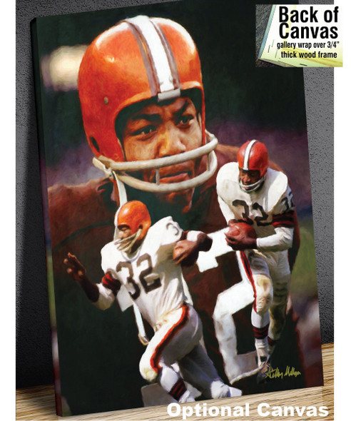 Jim Brown Cleveland Browns Running Back NFL Football Art Print 8x10-48x36 2510 canvas frame example