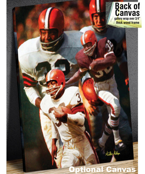 Jim Brown Cleveland Browns Running Back NFL Football Art Print 8x10-48x36 2520 canvas frame example