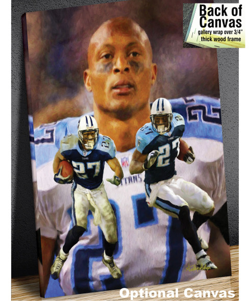 Eddie George Tennessee Titans Running Back NFL Football Art Print 8x10-48x36 2510 canvas frame example