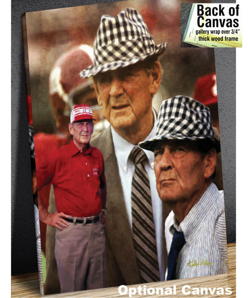Alabama Crimson Roll Bear Bryant College Football Art Print 2520 8x10-48x36 canvas frame example
