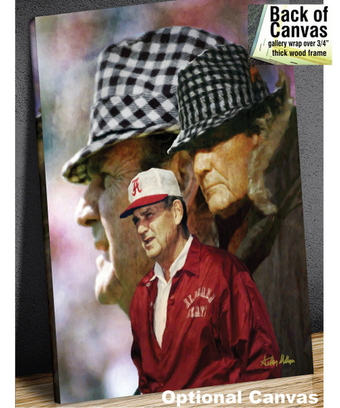 Alabama Crimson Roll Bear Bryant College Football Art Print 2530 8x10-48x36 canvas frame example