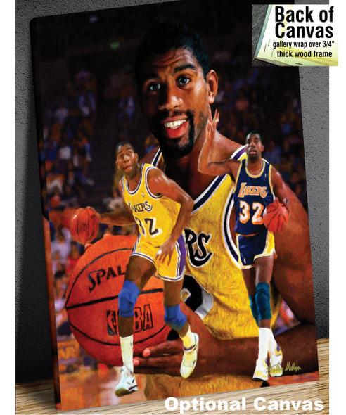 Earvin Magic Johnson Los Angeles Lakers LA Art NBA Basketball Art Print 2510 canvas frame example