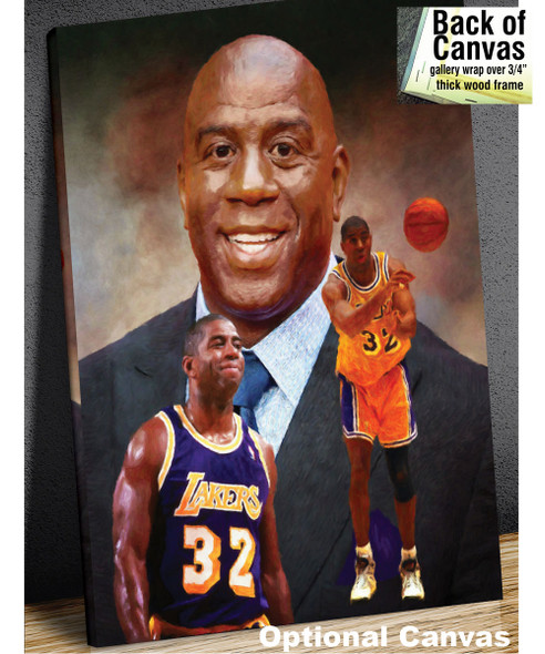 Earvin Magic Johnson Los Angeles Lakers LA Art NBA Basketball Art Print 2520 canvas frame example