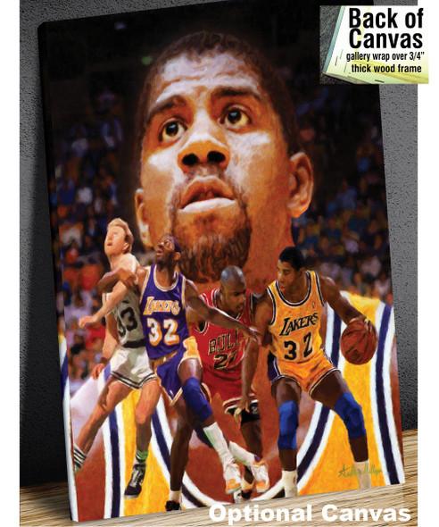 Earvin Magic Johnson Los Angeles Lakers LA Art NBA Basketball Art Print 2530 canvas frame example