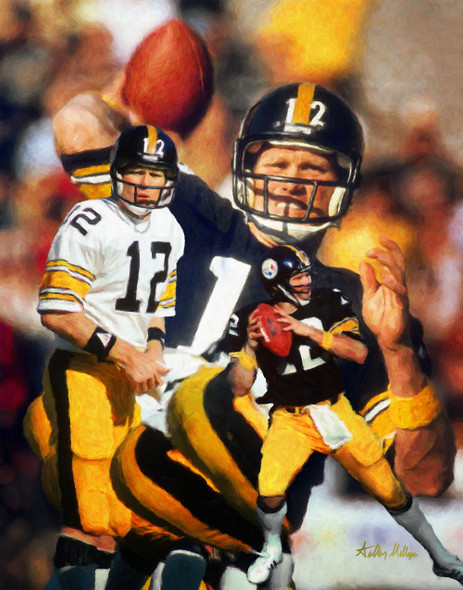 Terry Bradshaw Pittsburgh Steelers QB Quarterback NFL National Football League Art Print