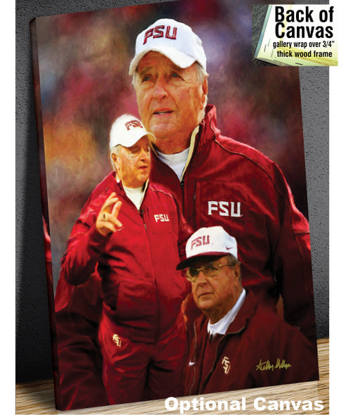 Bobby Bowden Florida State Seminoles Head Coach FSU NCAA College Football Art Print canvas frame example