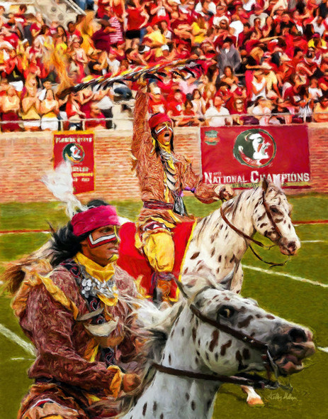 Chief Osceola and Renegade are mascots for the Florida State Seminoles College Football team Art Print